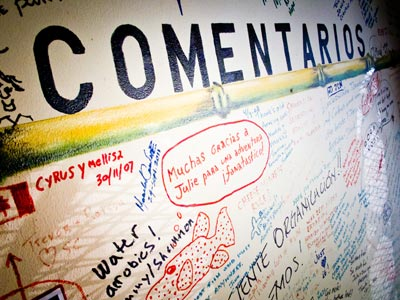 The Comments Wall at Coiba Dive Center